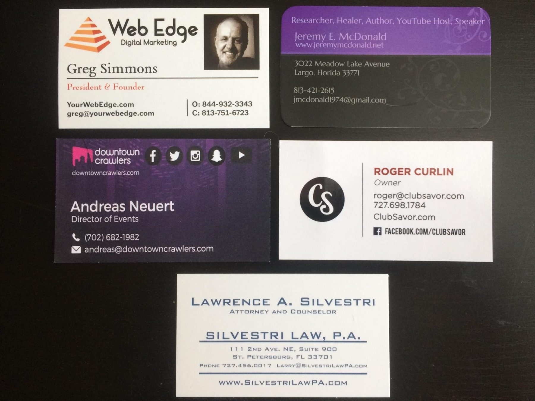 2017 11-16 Entrepreneur Social Club at-Queens head in DTSP business cards