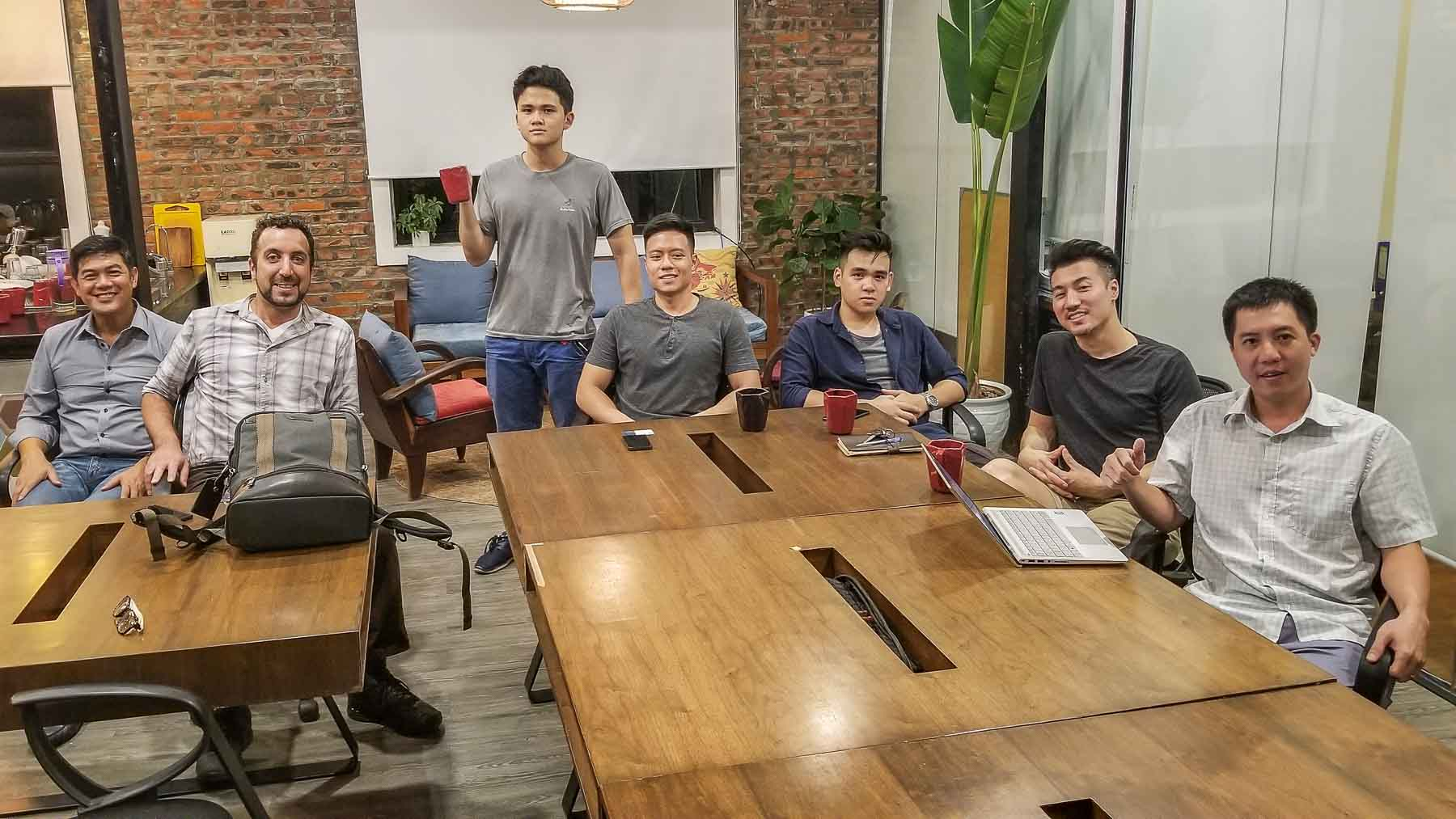 Globetrotting Entrepreneur and ESC Founder Michael Scott Novilla and the Entrepreneur Social Club enjoys Scientists Sushi and Splits in Hanoi Vietnam.